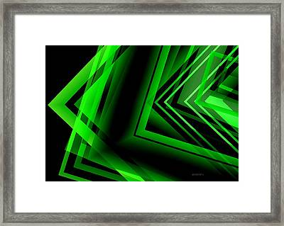 Green Abstract Geometric Framed Print by Mario Perez