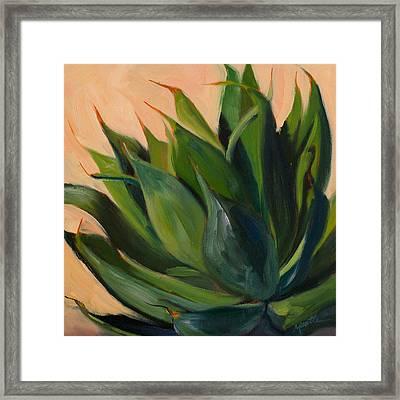 Green Agave Left Framed Print by Athena Mantle