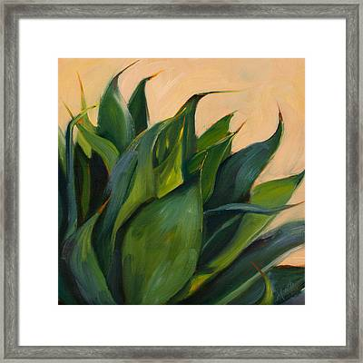 Green Agave Right Framed Print by Athena Mantle