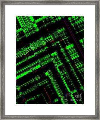 Green And Black In Abstract Geometry Art Framed Print by Mario Perez