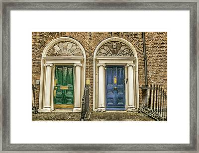 Green And Blue Doors In Dublin Framed Print by Patricia Hofmeester