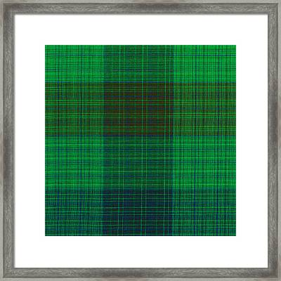 Green And Blue Plaid Fabric Background Framed Print by Keith Webber Jr