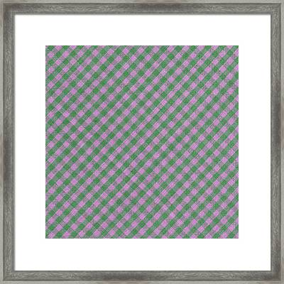 Green And Pink Checkered Diagonal Tablecloth Cloth Background Framed Print by Keith Webber Jr