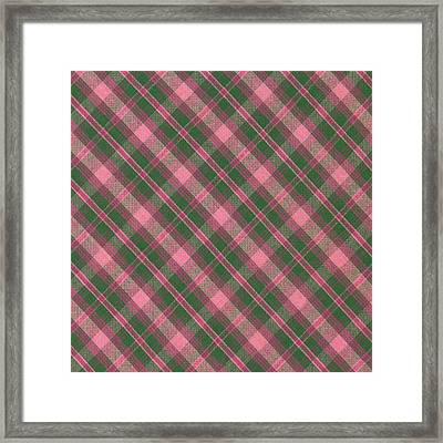 Green And Pink Diagonal Plaid Pattern Textile Background Framed Print by Keith Webber Jr