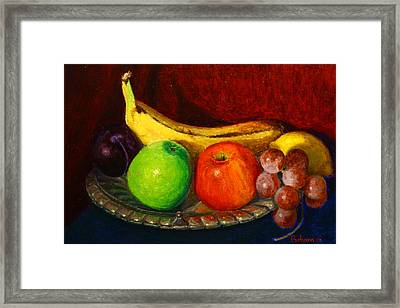 Green And Red On Silver Framed Print by Terry Perham