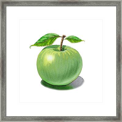 Green Apple Still Life Framed Print by Irina Sztukowski