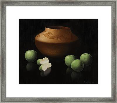 Green Apples And Vase Framed Print by Carlos Reales