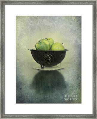 Green Apples In An Old Enamel Colander Framed Print by Priska Wettstein