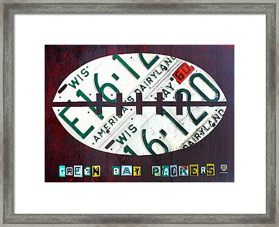 Green Bay Packers Football License Plate Art Framed Print by Design Turnpike
