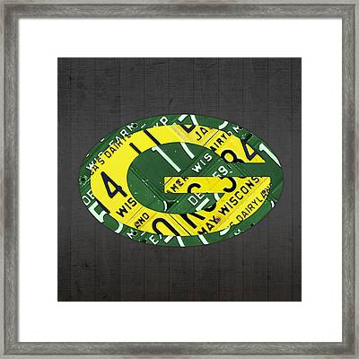 Green Bay Packers Football Team Retro Logo Wisconsin License Plate Art Framed Print by Design Turnpike
