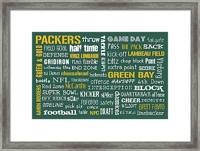 Green Bay Packers Framed Print by Jaime Friedman