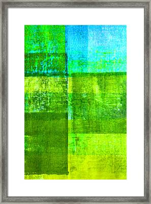 Green Boxes Abstract Framed Print by Nancy Merkle