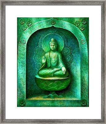 Green Buddha Framed Print by Sue Halstenberg