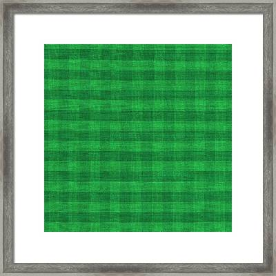 Green Checkered Pattern Cloth Background Framed Print by Keith Webber Jr