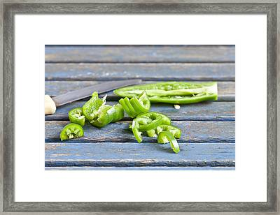 Green Chilli Framed Print by Tom Gowanlock