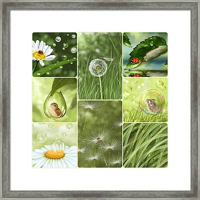 Green Collage Framed Print by Veronica Minozzi