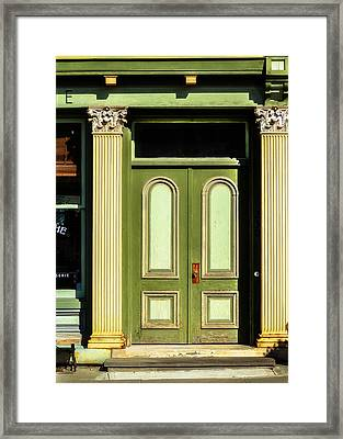 Green Door Framed Print by Jon Woodhams