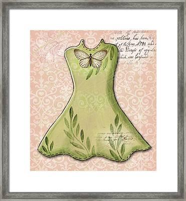 Green Dress Framed Print by Elaine Jackson