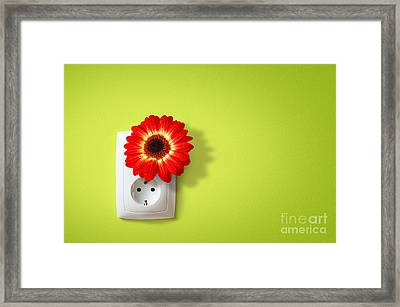 Green Electricity Framed Print by Carlos Caetano
