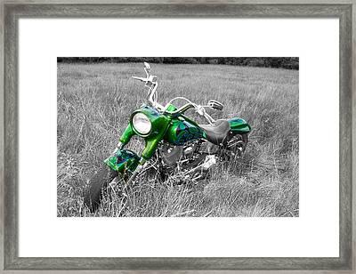 Green Fat Boy Framed Print by Guy Whiteley