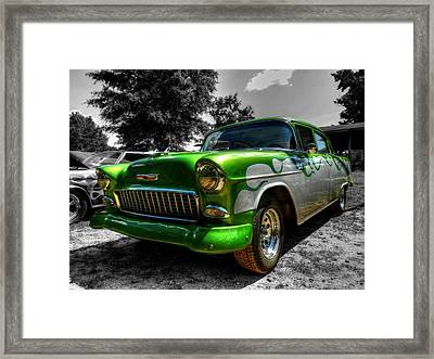 Green Flame '55 Chevy 001 Framed Print by Lance Vaughn