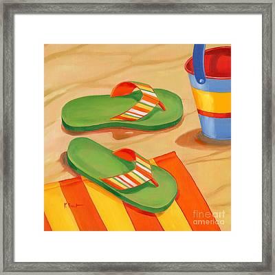 Green Flip Flops Framed Print by Paul Brent