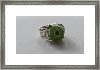 Green Flower Ring Framed Print by Tracy Partridge-Johnson