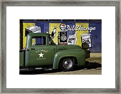 Green Ford Vintage Gas Station In Lowell Az Framed Print by Dave Dilli