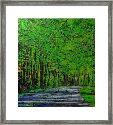 Green Forest Drive On Metal Framed Print by Dan Sproul