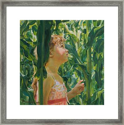 Green Forest Of Corn Framed Print by Victoria Kharchenko