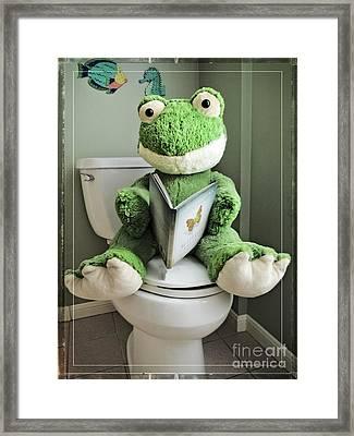 Green Frog Potty Training - Photo Art Framed Print by Ella Kaye Dickey