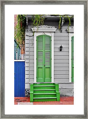Green Front Door New Orleans Framed Print by Christine Till