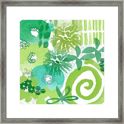 Green Garden- Abstract Watercolor Painting Framed Print by Linda Woods