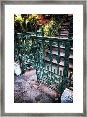 Green Gate Of Savannah Framed Print by John Rizzuto