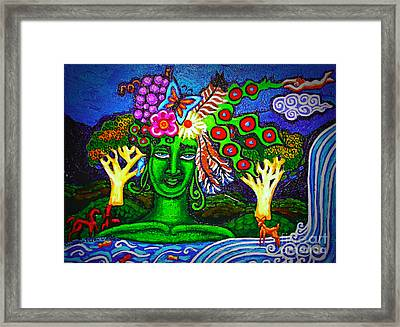 Green Goddess With Waterfall Framed Print by Genevieve Esson