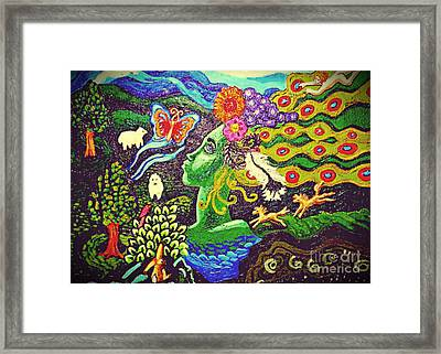 Green Goddess With Horses Framed Print by Genevieve Esson