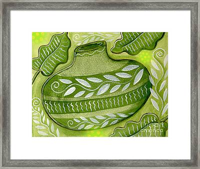 Green Gourd Framed Print by Elaine Jackson