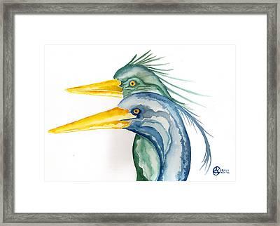 Green Herons Framed Print by Alexandra  Sanders