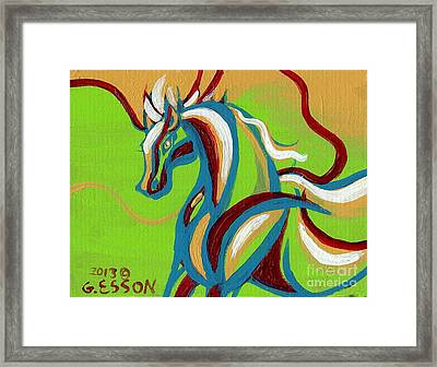 Green Horse Framed Print by Genevieve Esson
