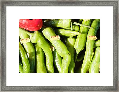 Green Jalpeno Peppers Framed Print by Tom Gowanlock