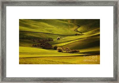 Green Land Framed Print by Jaroslaw Blaminsky