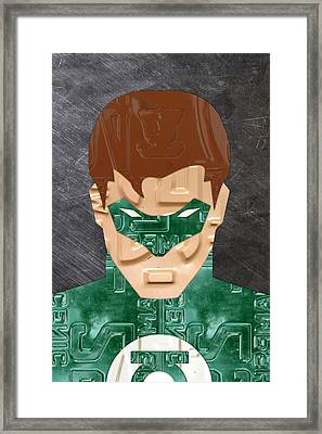 Green Lantern Superhero Portrait Recycled License Plate Art Framed Print by Design Turnpike
