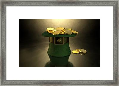 Green Leprechaun Hat Filled With Gold Coins Framed Print by Allan Swart