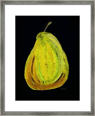 Green Pear - Contemporary Fruit Art Food Print Framed Print by Sharon Cummings