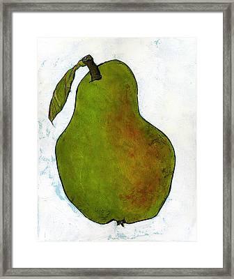 Green Pear On White Framed Print by Blenda Studio