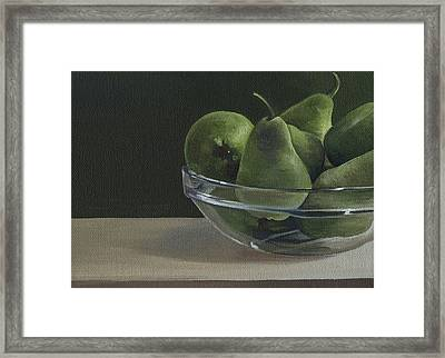 Green Pears Framed Print by Natasha Denger