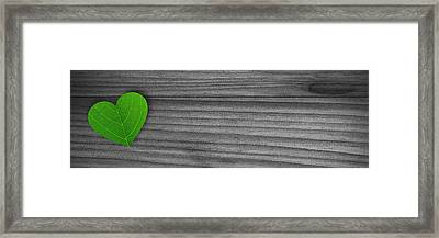 Green Pedal Shaped Heart Framed Print by Aged Pixel