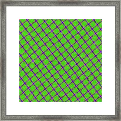 Green Pink Blue Plaid Fabric Background Framed Print by Keith Webber Jr