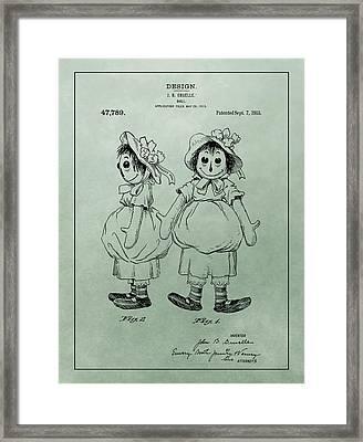 Green Raggedy Ann Patent Framed Print by Dan Sproul