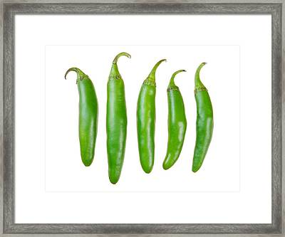 Green Serrano Peppers Framed Print by Jim Hughes